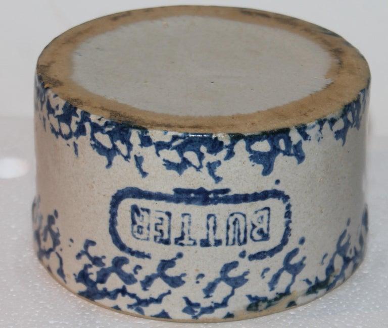 19Thc Blue & White Sponge Ware Pottery Butter Crocks, 4 For Sale 6