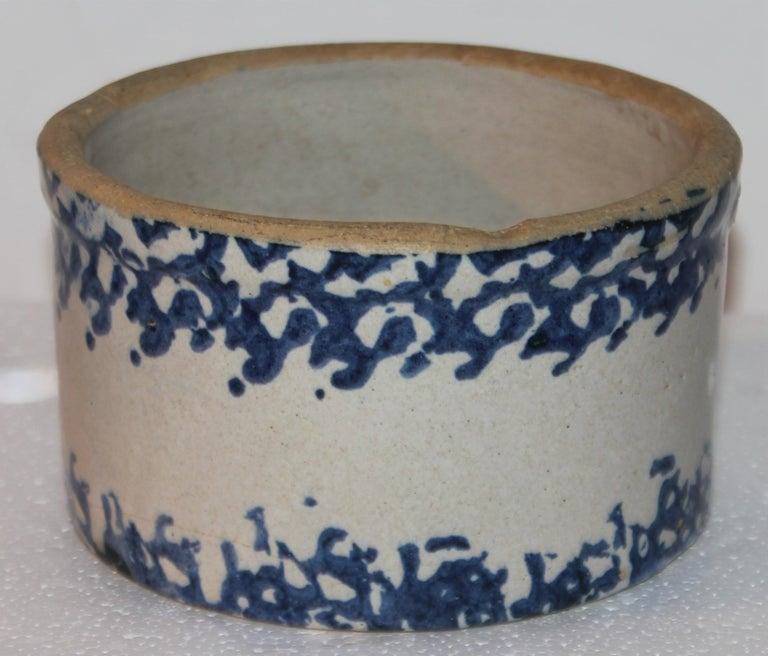 19Thc Blue & White Sponge Ware Pottery Butter Crocks, 4 For Sale 7