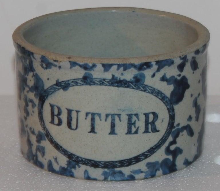 Adirondack 19Thc Blue & White Sponge Ware Pottery Butter Crocks, 4 For Sale