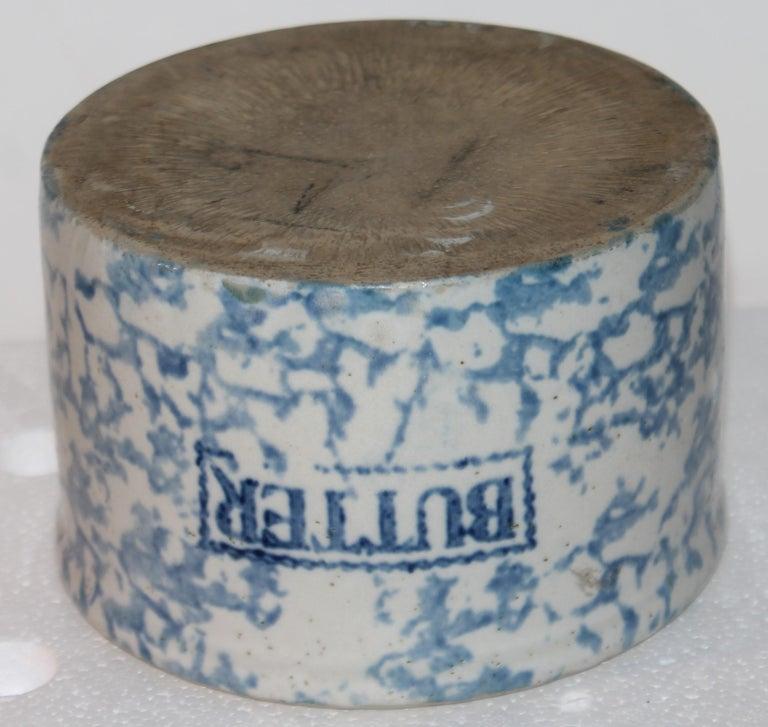 19th Century 19Thc Blue & White Sponge Ware Pottery Butter Crocks, 4 For Sale