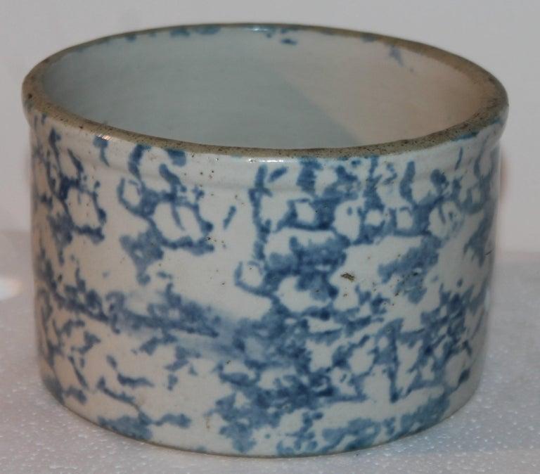 19Thc Blue & White Sponge Ware Pottery Butter Crocks, 4 For Sale 1