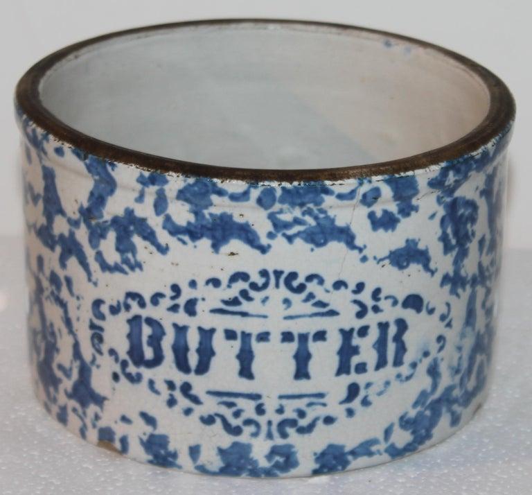 19Thc Blue & White Sponge Ware Pottery Butter Crocks, 4 For Sale 2
