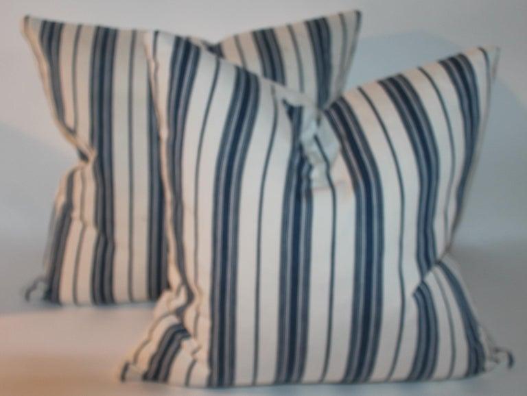 Adirondack 19Thc Blue & White Ticking Pillows, Pair For Sale