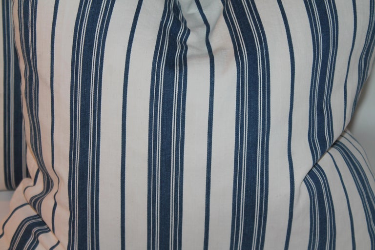 American 19Thc Blue & White Ticking Pillows, Pair For Sale