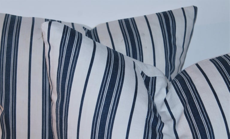 Hand-Crafted 19Thc Blue & White Ticking Pillows, Pair For Sale