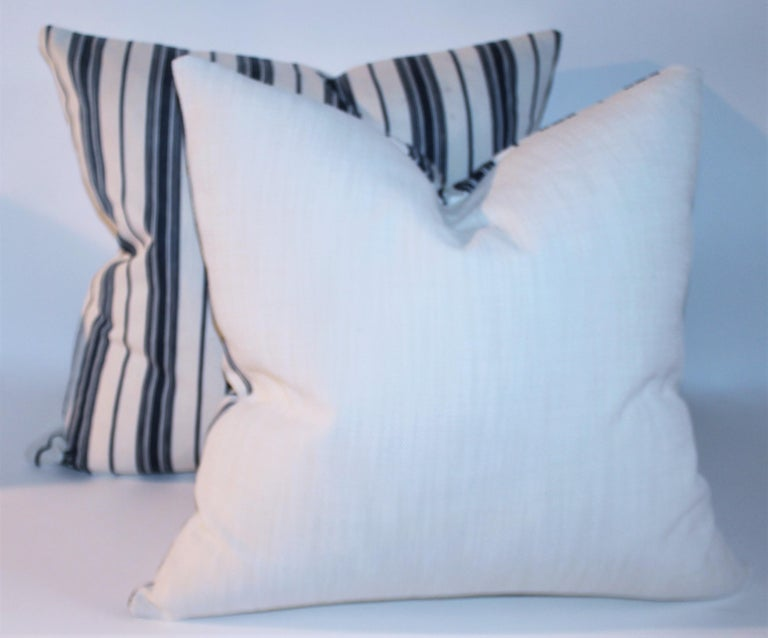 19Thc Blue & White Ticking Pillows, Pair In Good Condition For Sale In Los Angeles, CA