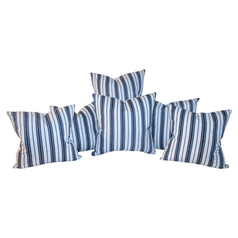 19Thc Blue & White Ticking Pillows, Pair