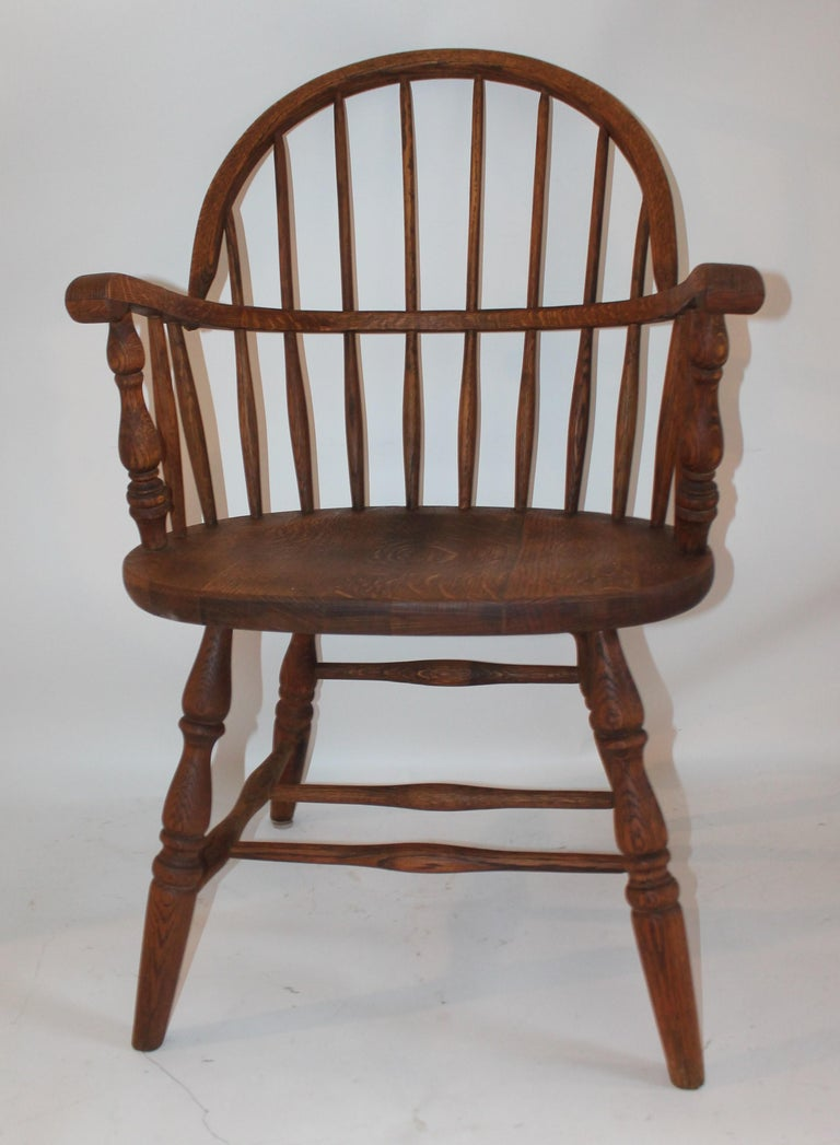 Country 19th Century Bow Back Windsor Armchairs / Pair For Sale
