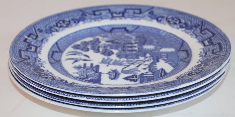 L. Bamberger and Co. is a New Jersey founded company which made blue willow in the 1920s and 1930s. This blue willow set is in amazing condition and is sold in a set of four.