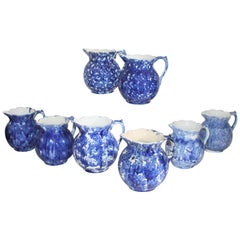 19th Century Bulbous Sponge Ware Pitcher Collection, 8 Pieces