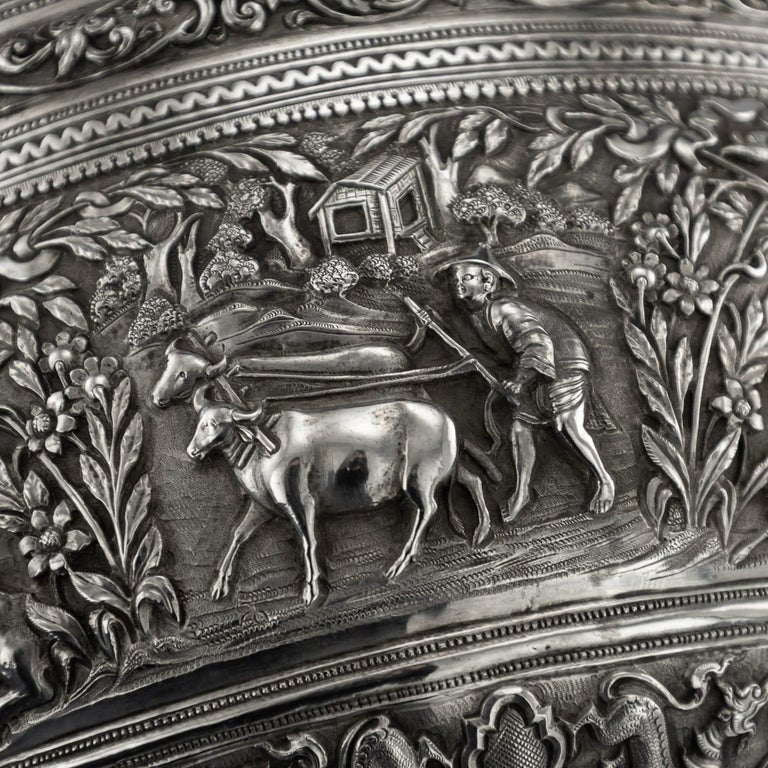19th Century Burmese Solid Silver Handcrafted Bowl, circa 1880 For Sale 7