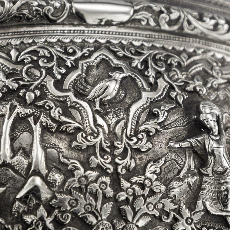 19th Century Burmese Solid Silver Handcrafted Bowl, circa 1880 For Sale 8