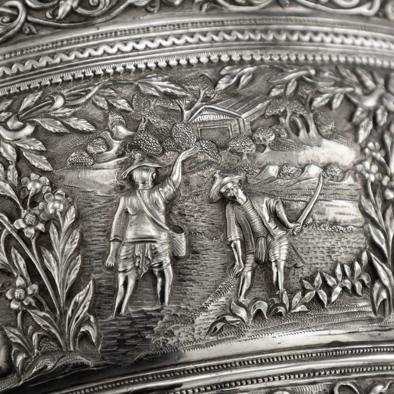 19th Century Burmese Solid Silver Handcrafted Bowl, circa 1880 For Sale 9