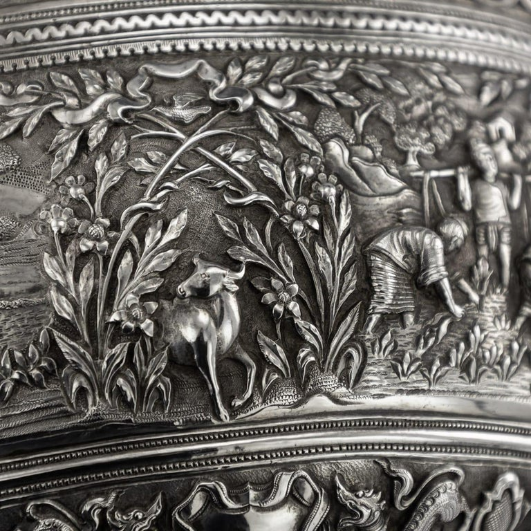 19th Century Burmese Solid Silver Handcrafted Bowl, circa 1880 For Sale 10