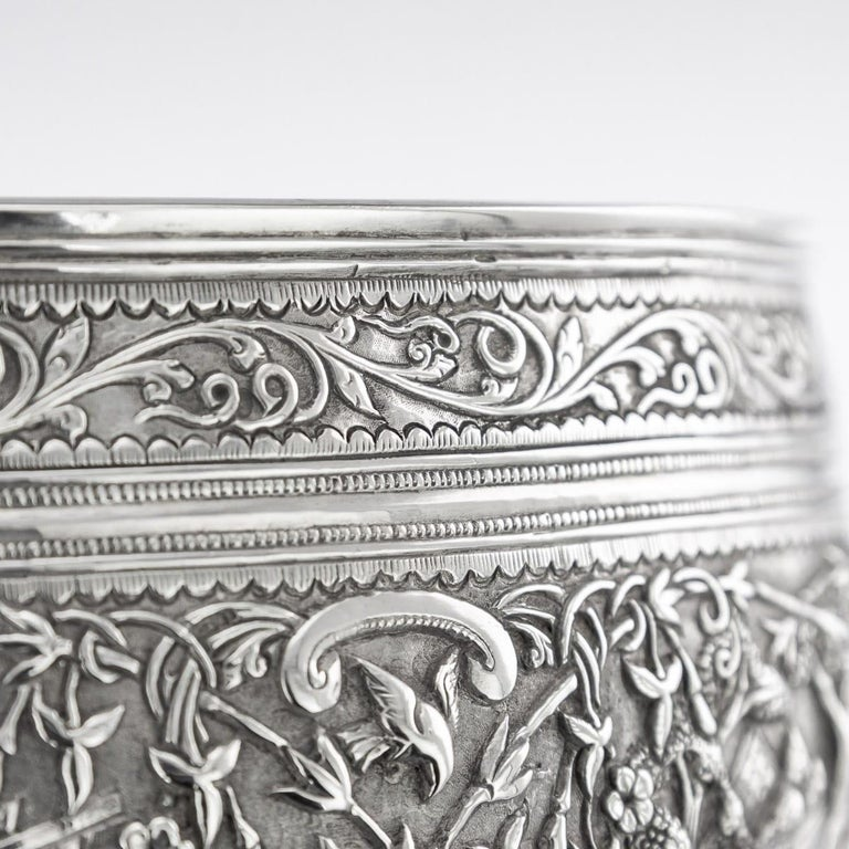 19th Century Burmese Solid Silver Handcrafted Bowl, circa 1880 For Sale 11