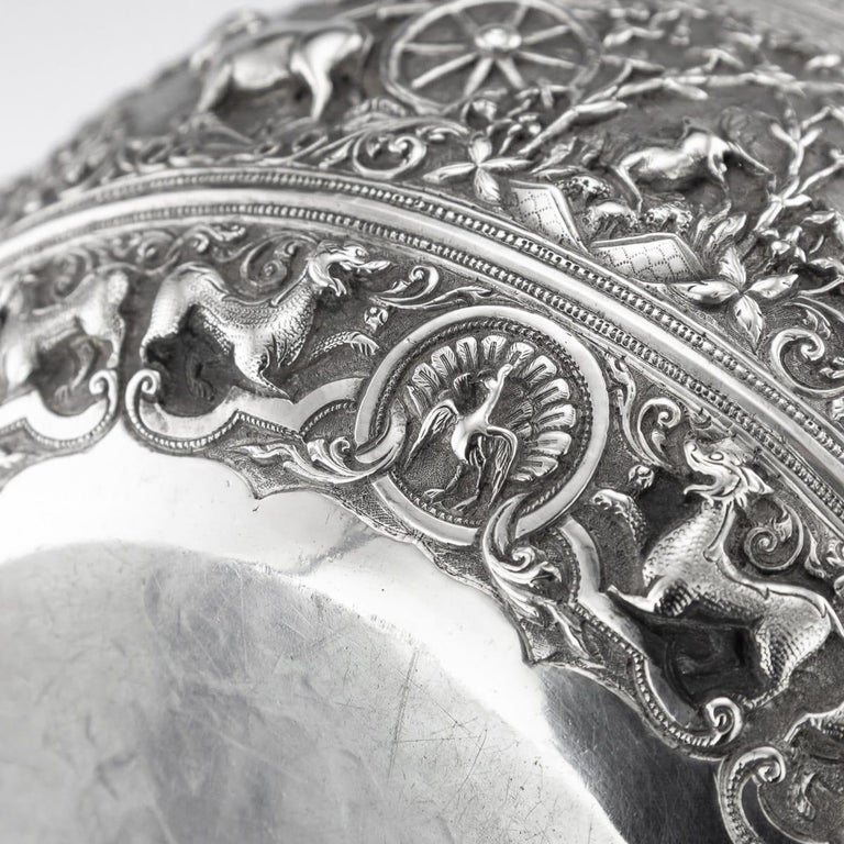 19th Century Burmese Solid Silver Handcrafted Bowl, circa 1880 For Sale 12