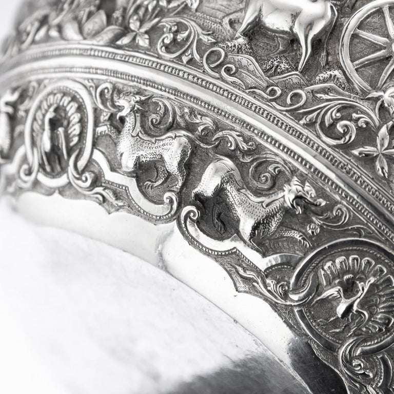 19th Century Burmese Solid Silver Handcrafted Bowl, circa 1880 For Sale 13