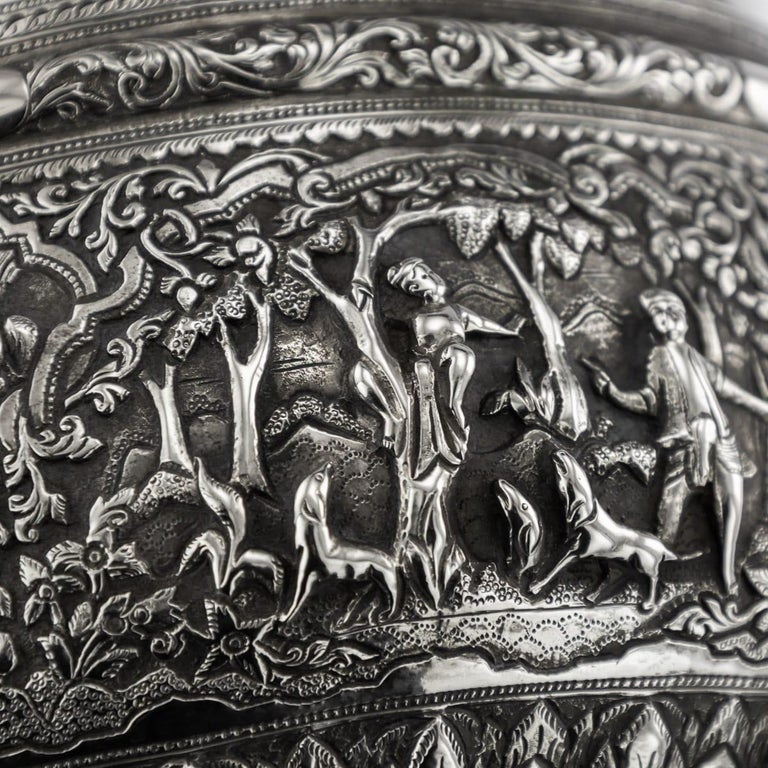 19th Century Burmese Solid Silver Handcrafted Bowl, circa 1880 For Sale 14