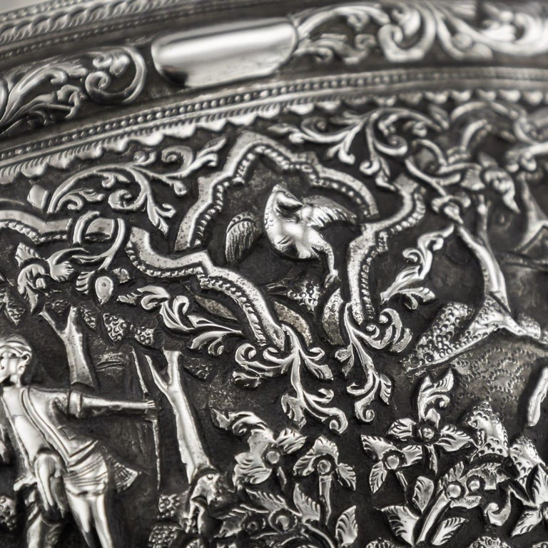 19th Century Burmese Solid Silver Handcrafted Bowl, circa 1880 For Sale 15