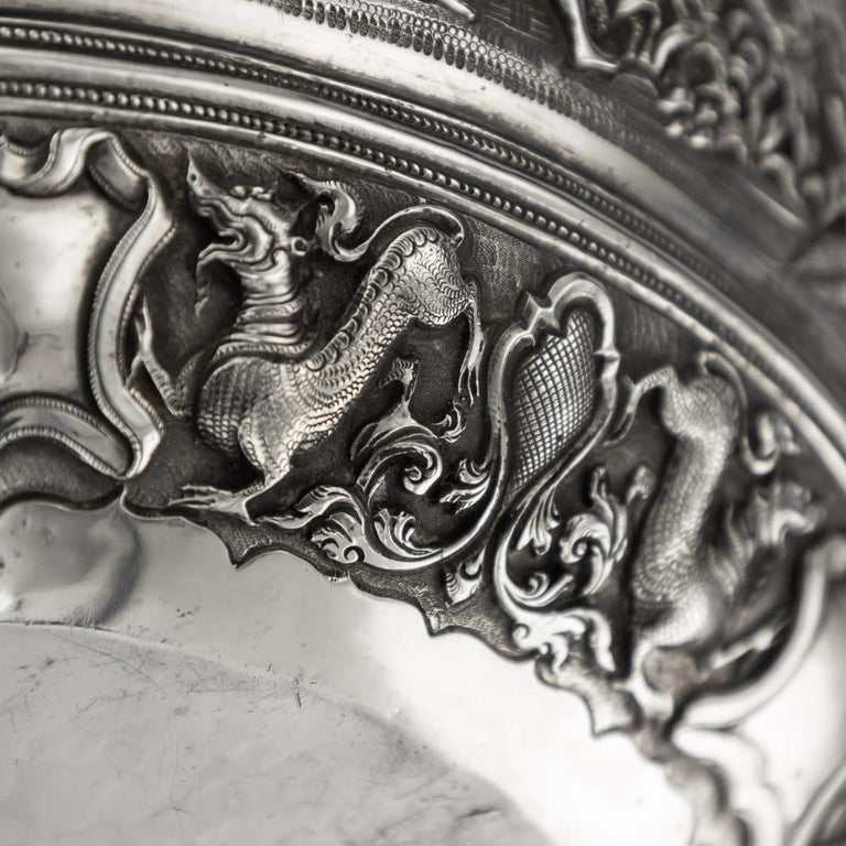19th Century Burmese Solid Silver Handcrafted Bowl, circa 1880 For Sale 16