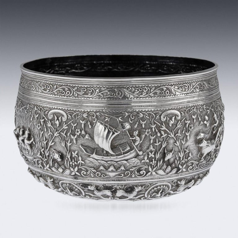 19th Century Burmese Solid Silver Handcrafted Bowl, circa 1880 For Sale 1