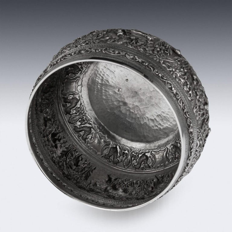19th Century Burmese Solid Silver Handcrafted Bowl, circa 1880 For Sale 2
