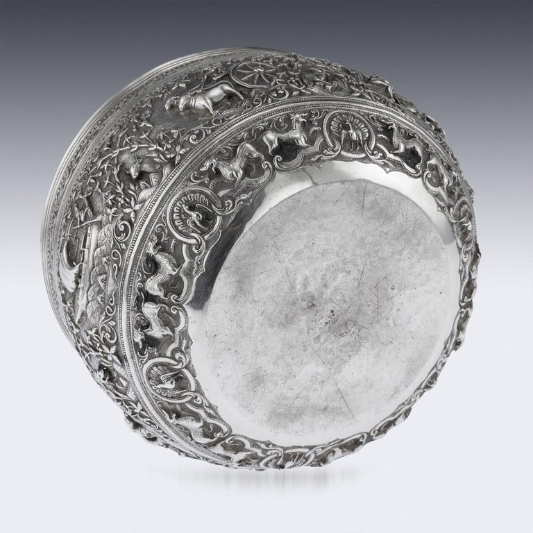 19th Century Burmese Solid Silver Handcrafted Bowl, circa 1880 For Sale 3