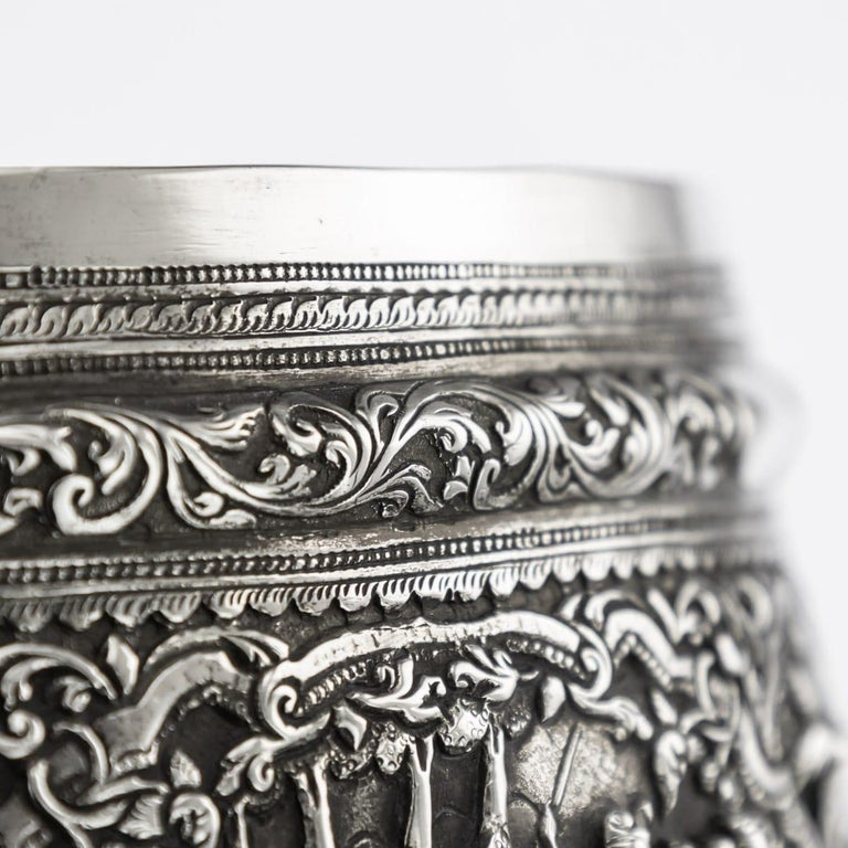 19th Century Burmese Solid Silver Handcrafted Bowl, circa 1880 For Sale 4