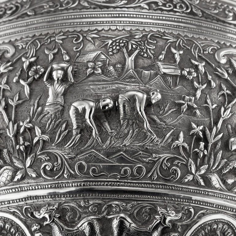19th Century Burmese Solid Silver Handcrafted Bowl, circa 1880 For Sale 5