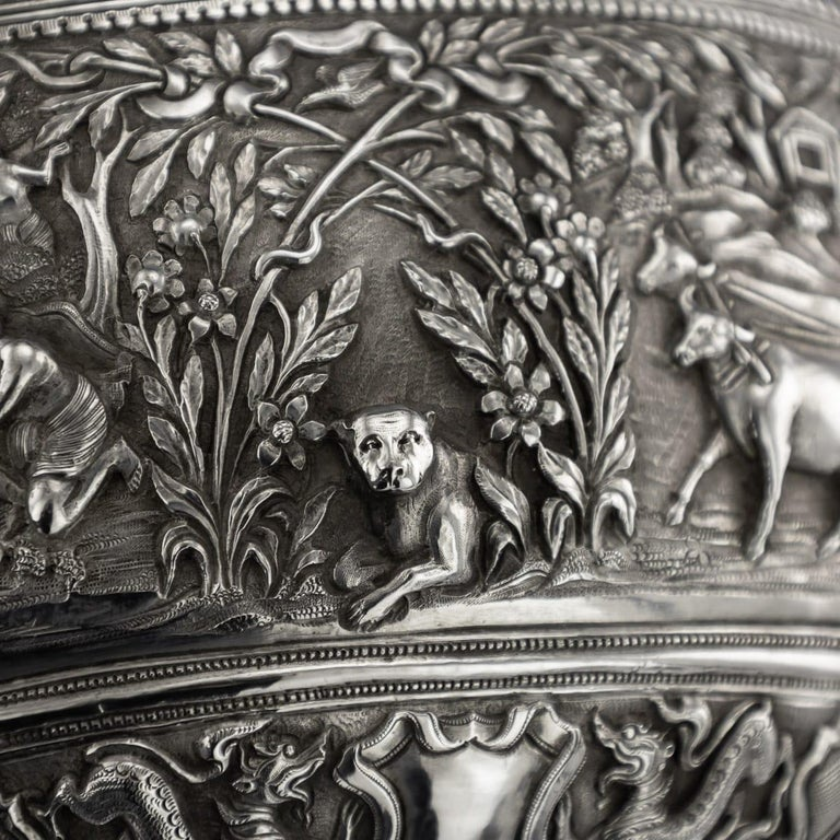 19th Century Burmese Solid Silver Handcrafted Bowl, circa 1880 For Sale 6