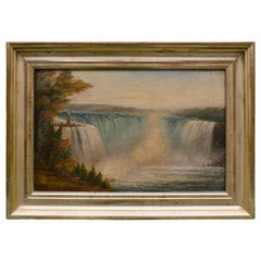 19th Century Canadian Oil Painting of Niagara Falls Attributed to Robert Whale