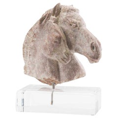 19th Century Carved Soapstone Sculpture of Horse Head
