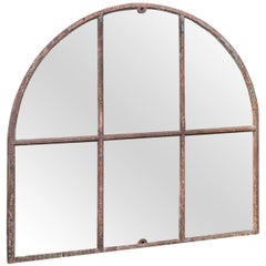 19th Century Cast Iron Arched Window Mirror