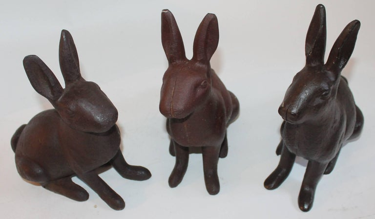 These rabbits are all slightly different in shape and size. All rabbits measure 10 inches in depth x 5 inches in width x 11 inches in height. The condition are very good.