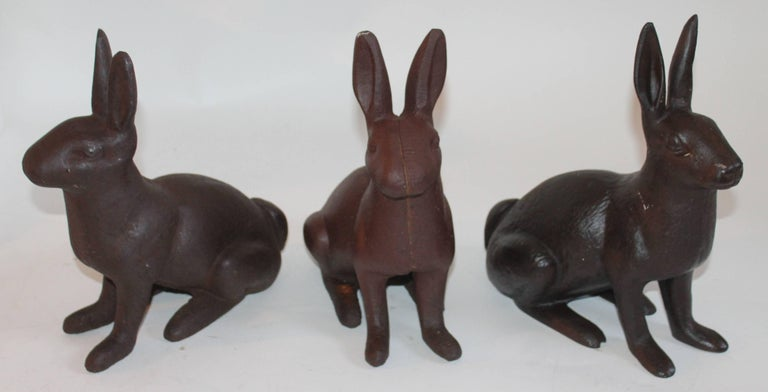 Country 19th Century Cast Iron Rabbits / Collection of Three For Sale