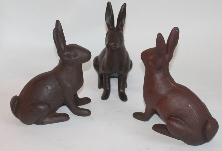 American 19th Century Cast Iron Rabbits / Collection of Three For Sale