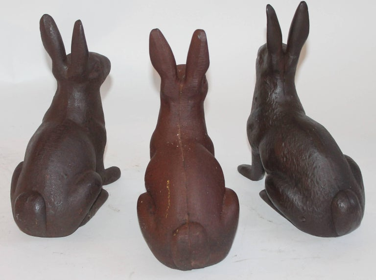 20th Century 19th Century Cast Iron Rabbits / Collection of Three For Sale