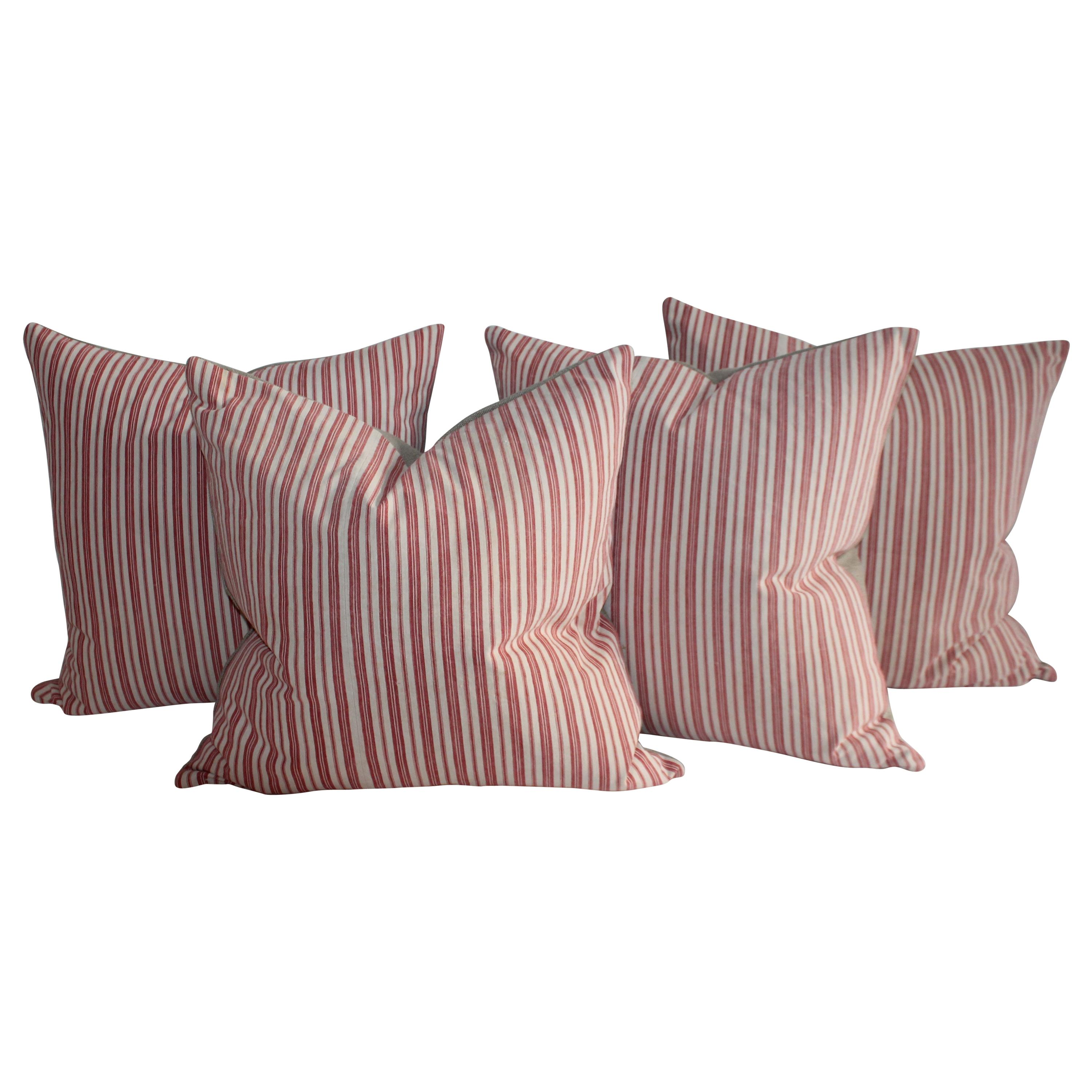 19th Century Cherry Striped Ticking Pillows / Collection of Four