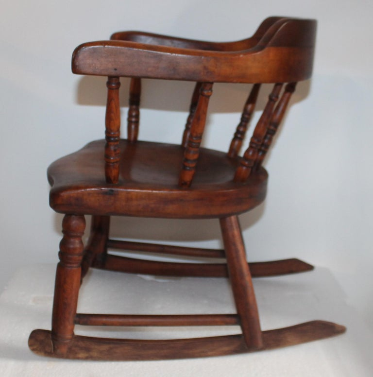 American 19th Century Child's Windsor Rocker from New England For Sale