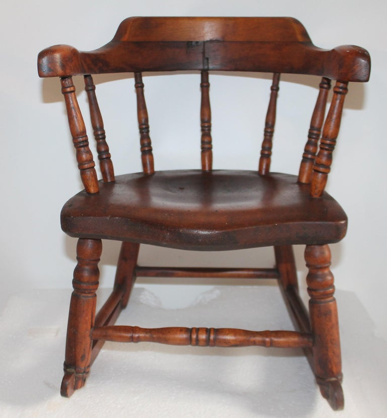Hand-Crafted 19th Century Child's Windsor Rocker from New England For Sale