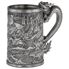 19th Century Chinese Export Solid Silver Battle Scene Mug, Leeching, circa 1870