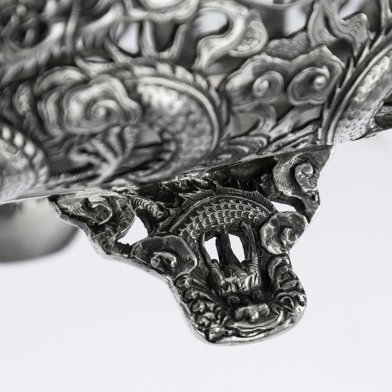 19th Century Chinese Export Solid Silver Dragon Jardinière, Wang Hing circa 1890 For Sale 7