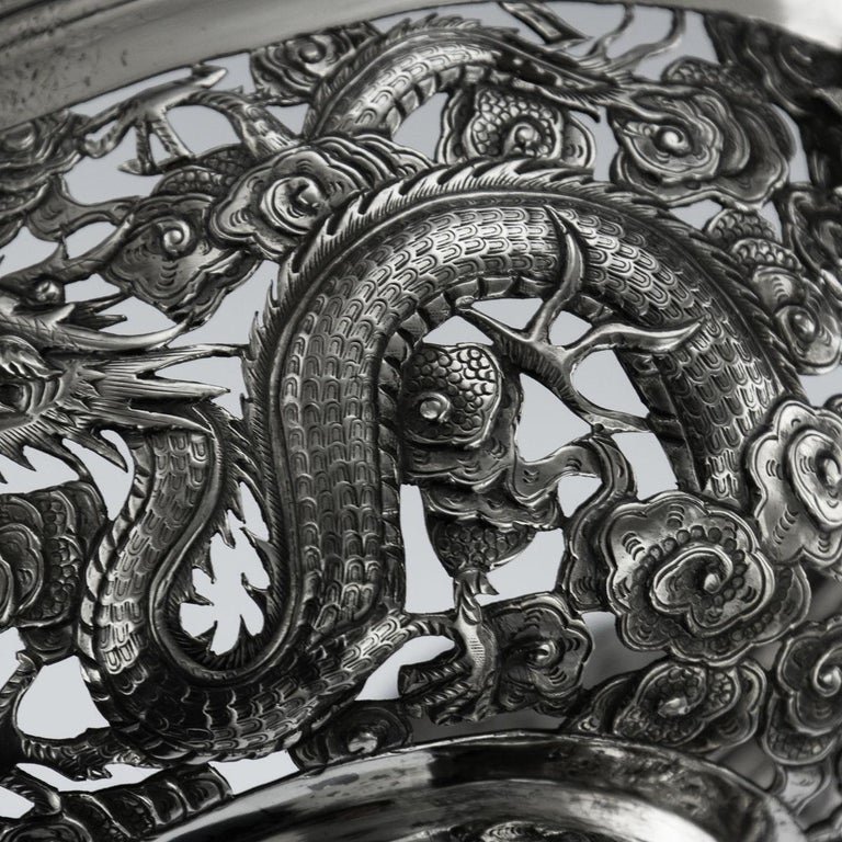 19th Century Chinese Export Solid Silver Dragon Jardinière, Wang Hing circa 1890 For Sale 8