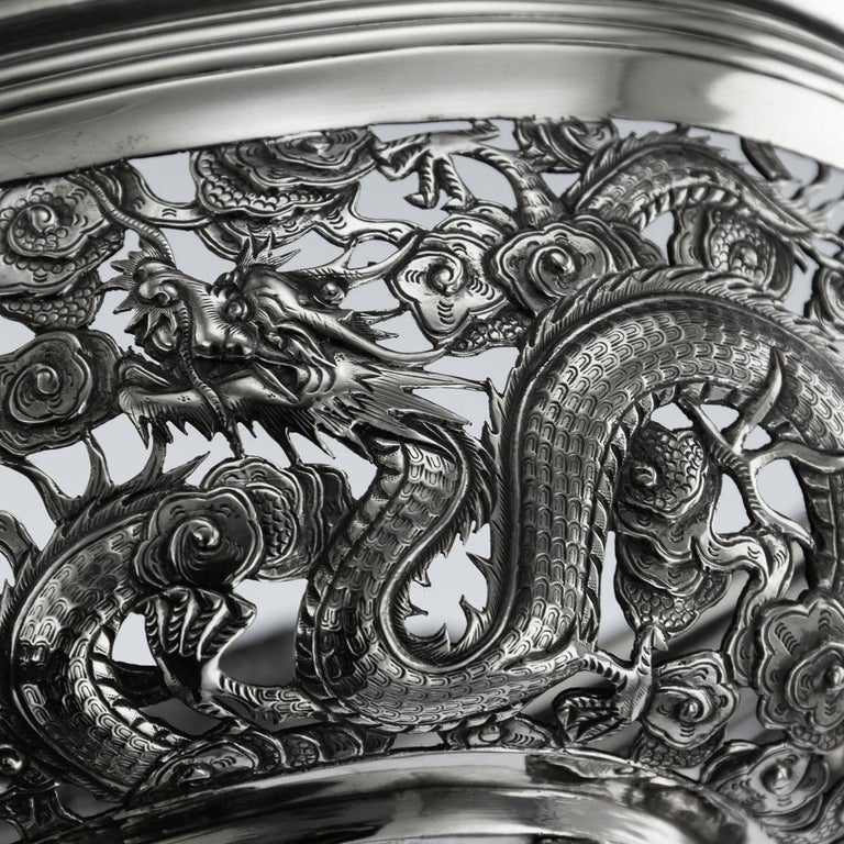 19th Century Chinese Export Solid Silver Dragon Jardinière, Wang Hing circa 1890 For Sale 9