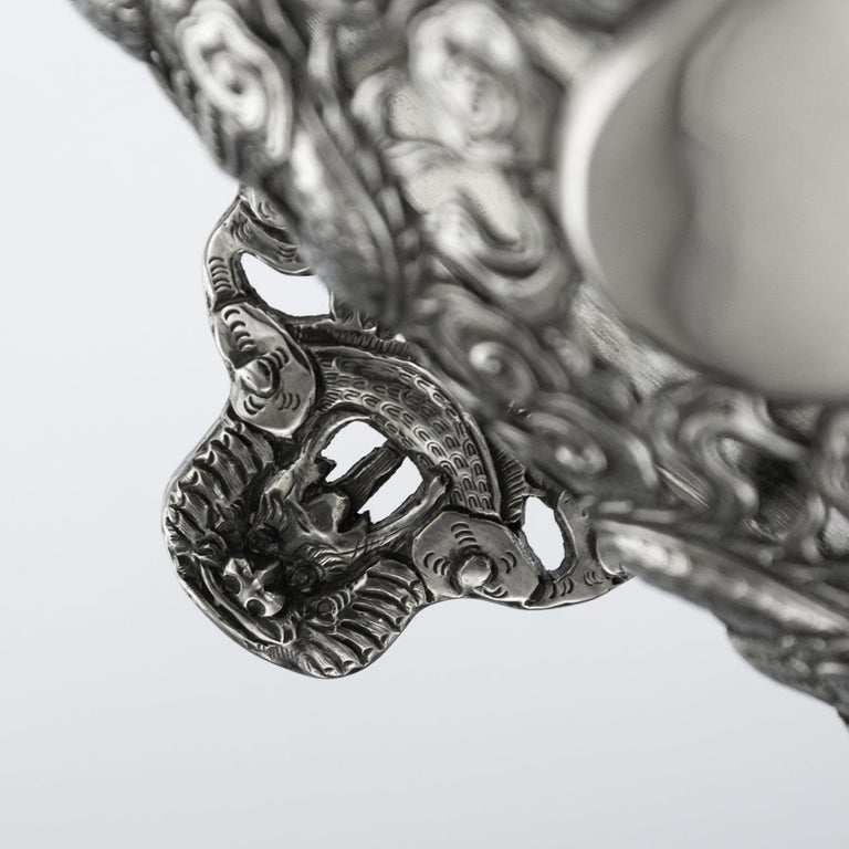 19th Century Chinese Export Solid Silver Dragon Jardinière, Wang Hing circa 1890 For Sale 10