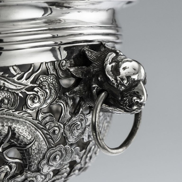 19th Century Chinese Export Solid Silver Dragon Jardinière, Wang Hing circa 1890 For Sale 11
