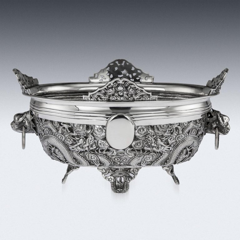 19th Century Chinese Export Solid Silver Dragon Jardinière, Wang Hing circa 1890 In Good Condition For Sale In London, London