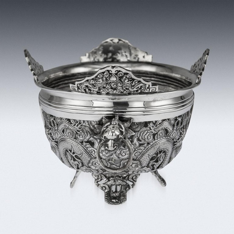 19th Century Chinese Export Solid Silver Dragon Jardinière, Wang Hing circa 1890 For Sale 1