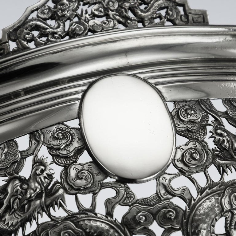 19th Century Chinese Export Solid Silver Dragon Jardinière, Wang Hing circa 1890 For Sale 4