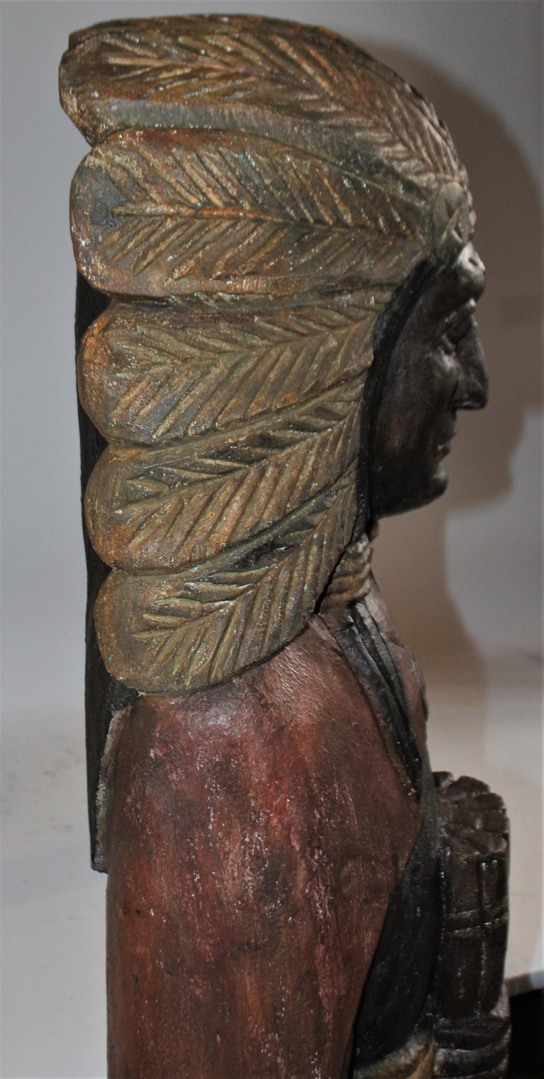 Wood 19th Century Cigar Store Indian Hand Carved and Painted For Sale